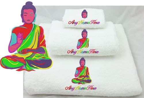 Colourfull Bright Buddha Design  White Towel/s.  Choice of Bale Size or Available as single Towel.