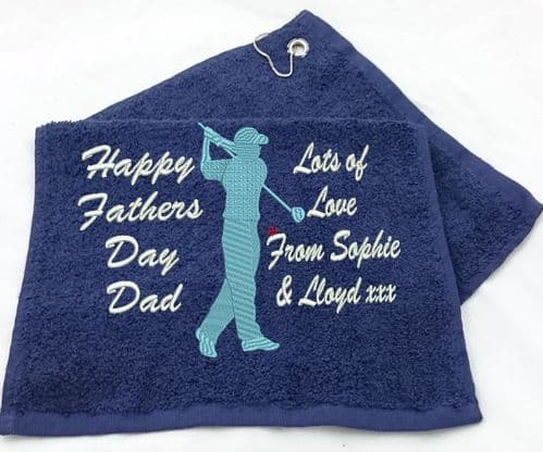Gentleman Golfer in Swing design Golf Towel.  With 2 columns for Any Personalised text / Message.