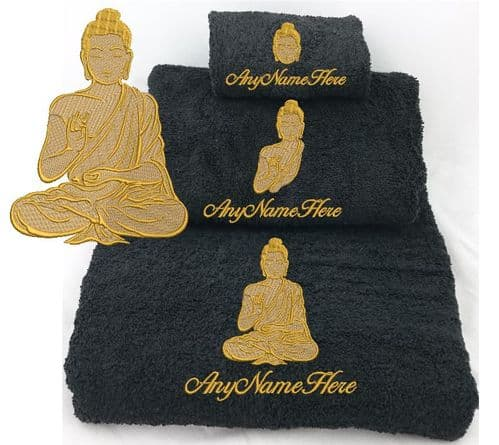 Golden  Buddha Design  Black Towel/s.  Choice of Bale Size or Available as single Towel.