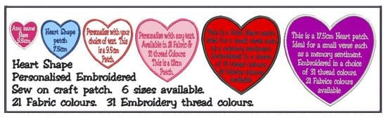 Heart Shape Patches with text.