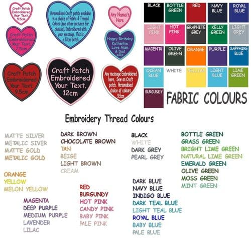 Heart Shaped Personalised Embroidered Craft patch.