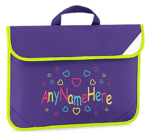 Hearts Girls design Book bag - available in choice of 7 colours.  Personalised.