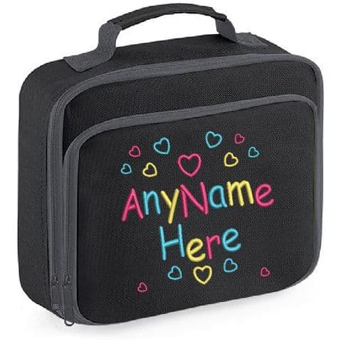 Hearts Girls design Lunch Bag with name embroidered.
