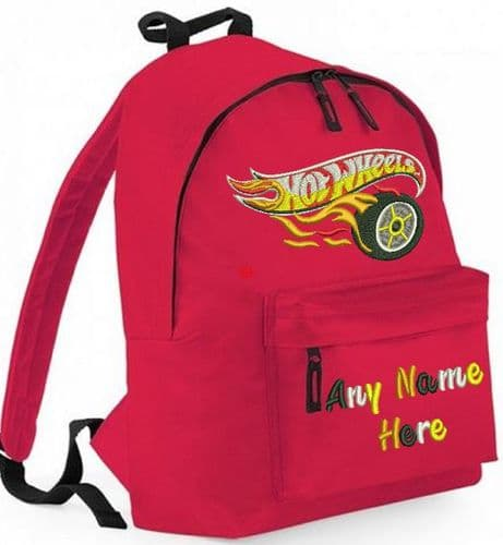 HOT WHEELS embroidered design Rucksack/Backpack with any name