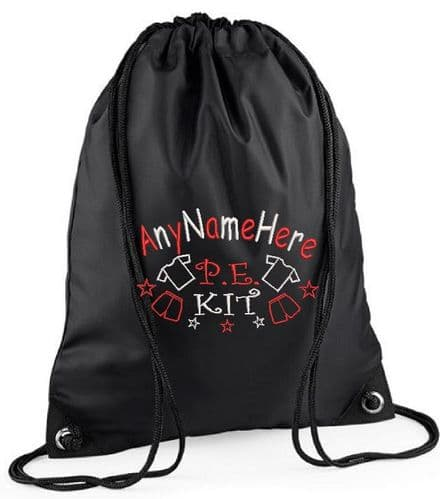 P.E. KIT Design Drawstring bag personalised with any name.