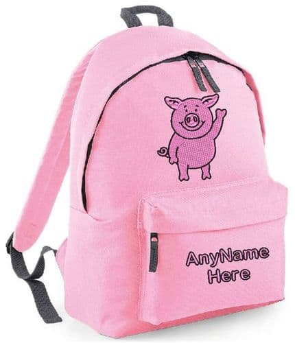 Personalised  Embroidered Pig design (Percy)  Rucksack/Backpack.
