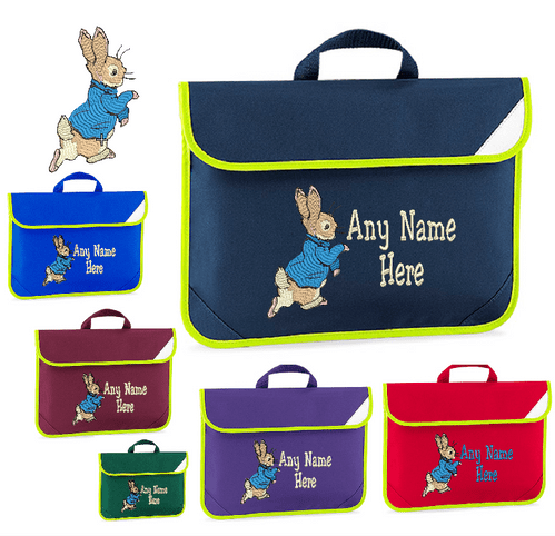 Peter Rabbit design Book bag - available in choice of 6 colours Personalised