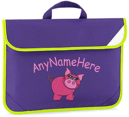 PRETTY PIG GIRLY design Book bag / Reading Folder - available in choice of 7 colours.  Personalised.