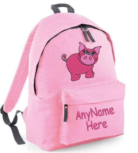 Pretty Pink Pig design Rucksack/Backpack (with any name).