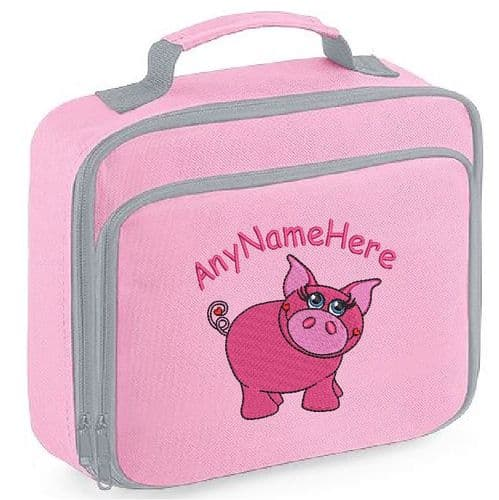 Pretty Pink Pig Girly Design Lunch Bag with name embroidered.