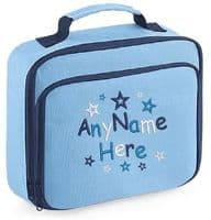 Random Star design Lunch Bag with name embroidered.