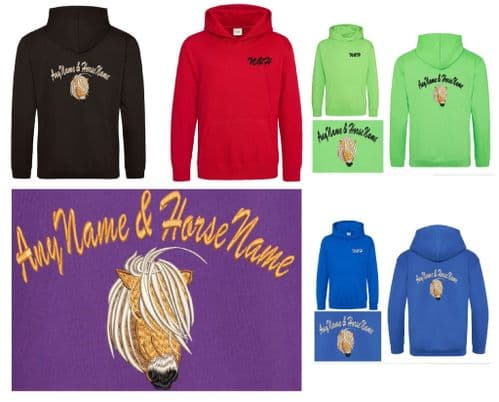 Shetland Pony Owner Embroidered Hoodie with Pony Name.