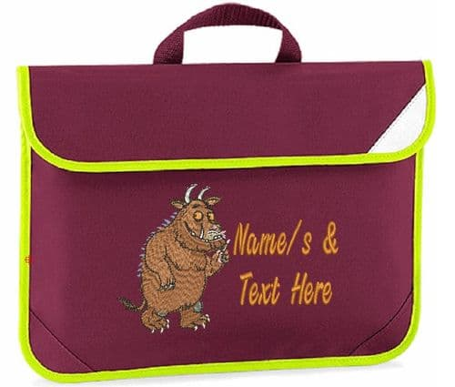 The Gruffalo design Book bag - available in choice of 7 colours.  Personalised.