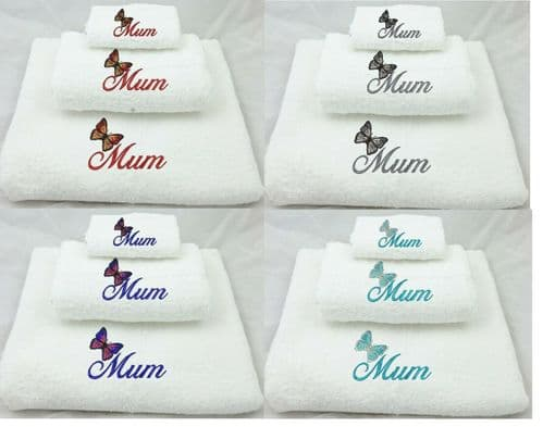 White Embroidered Butterfly Mum Towel set.