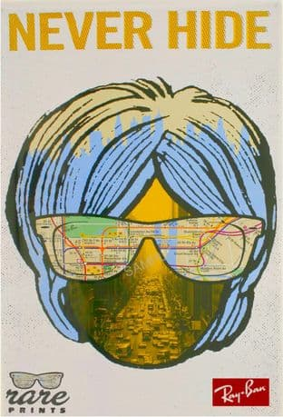 1960s Rayban Sunglasses Advert - New York Map
