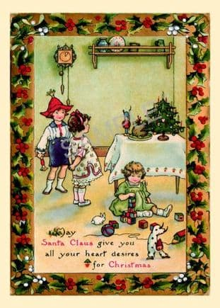 Christmas Postcards Pack of 6 Children by  Xmas Tree  PC-115