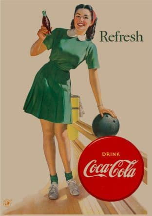 Coke Coca Cola 50s Girl Bowling