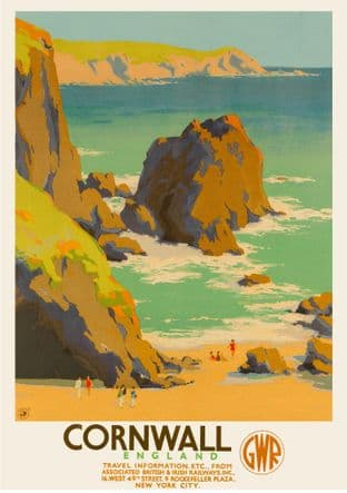 Cornwall GWR Art Deco Seaside Poster