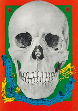 Grateful Dead Skull Concert Tour Advertising Sign 1960s