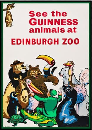 Guinness animals at Edinburgh Zoo Advertising Sign