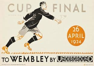 London Underground Railway Poster Wembley Cup Final 1924 Football