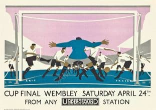 London Underground Railway Poster Wembley Cup Final 1926 Football