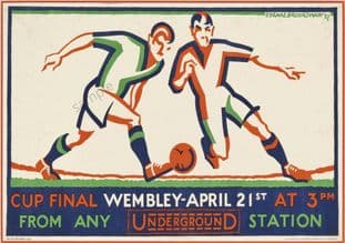 London Underground Railway Poster Wembley Cup Final 1928 Football