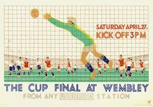 London Underground Railway Poster Wembley Cup Final 1929 Football