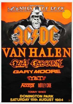 Monsters of Rock ACDC Van Halen Music Gig Tour Sign