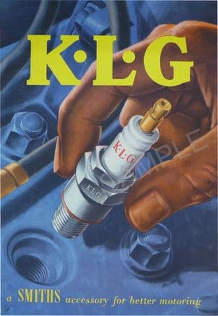 Retro KLG Spark Plugs Print - Motoring Mechanics