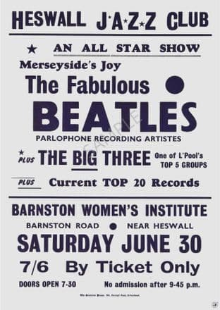 The Beatles Heswall Vintage Music Gig Advertising Sign