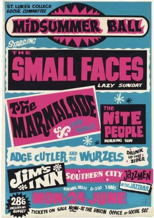 The Small Faces, Marmalade, Wurzels, Exeter Uni Midsummer Ball 1960,s