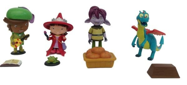 Set Of 4 Mike The Knight Figures - EVIE Witch, SQUIRT Dragon, FERNANDO & TROLLEE