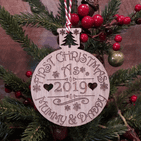First 1st Christmas as Mummy and Daddy Personalised Bauble Decoration Gift