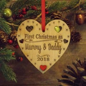 First 1st Christmas as Mummy & Daddy Personalised Heart Decoration Gift