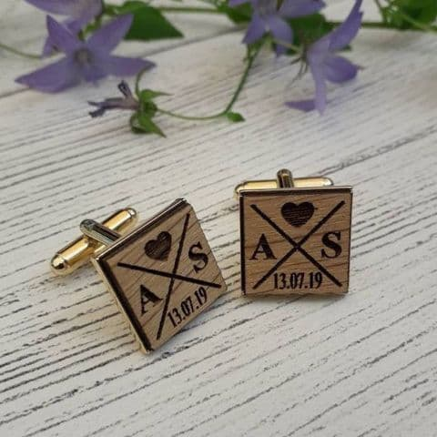 Personalised Cufflinks Crossed Paths Wooden Oak Cufflinks