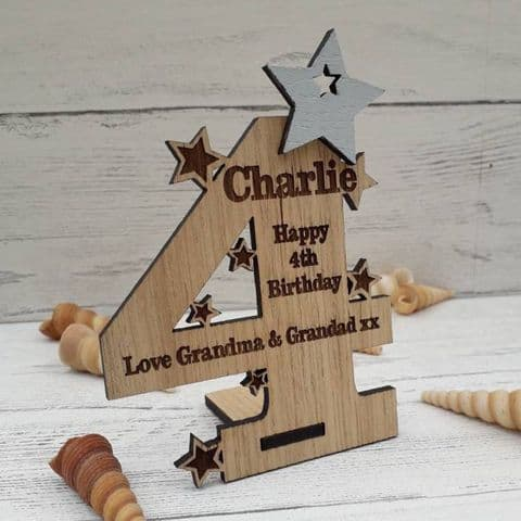 Personalised Fourth 4th Birthday Card Oak Wooden Keepsake Gift
