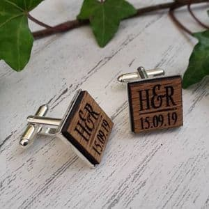 Personalised Initials Date Wooden Oak Cufflinks, Silver Plated