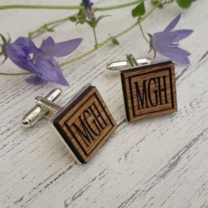 Personalised Initials Wooden Oak Cufflinks, Silver Plated