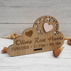 Personalised New Baby Keepsake Cloud with Heart, Stars Gift  Oak Wooden Decor