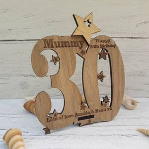 Personalised Thirtieth 30th Birthday Celebration Card Oak Wooden Keepsake Gift