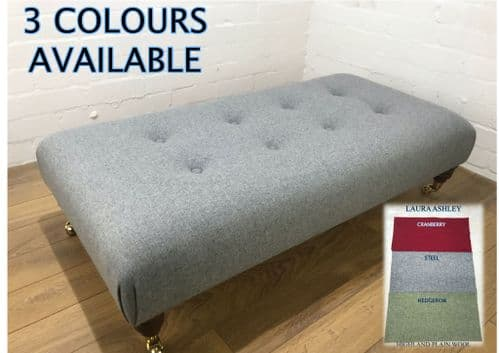 LAURA ASHLEY wrap over style footstool - Highland Plain Wool Fabric - Choice of colours