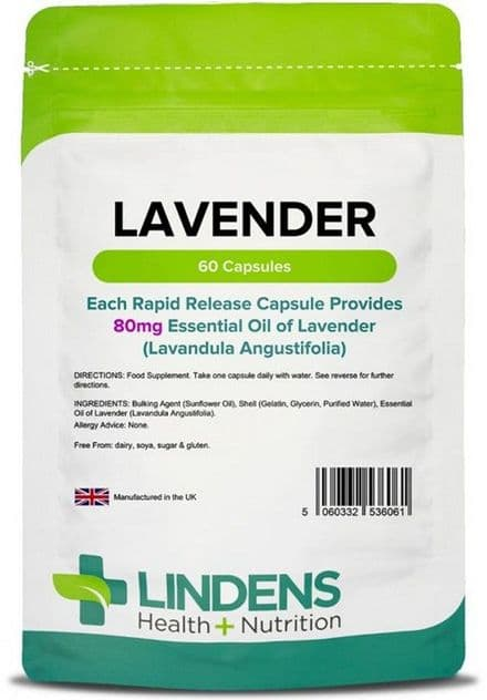 Essential Oil Of Lavender 80mg x 60 Capsules; Mood, Relaxation; Lindens