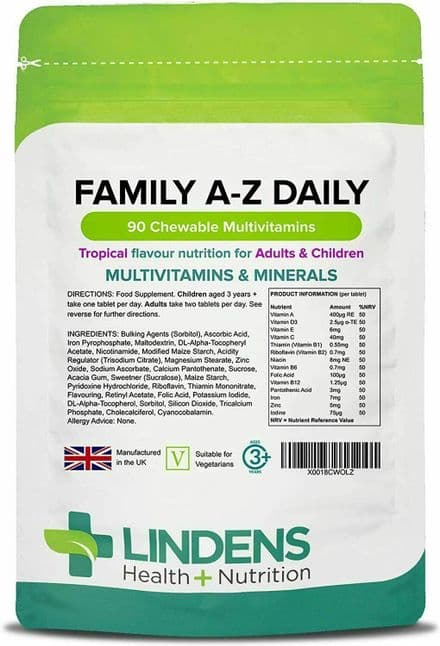 Family A-Z Daily Multivitamin x 90 Chewable Tablets ; Lindens
