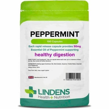 Peppermint Oil 50mg x 100 Capsules; Healthy Digestion; Lindens