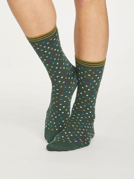 Dotty Socks - Forest Green
