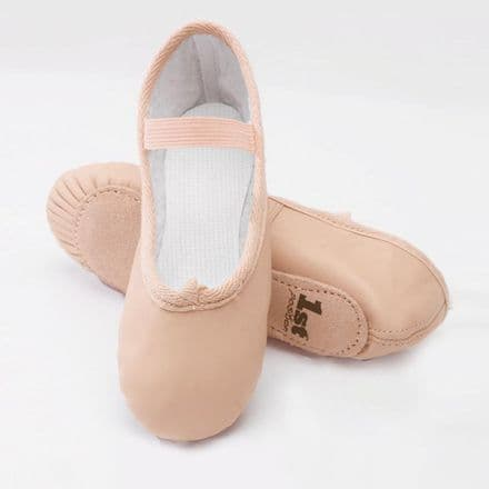1st Position Leather Full Suede Soled Pink Ballet Shoe