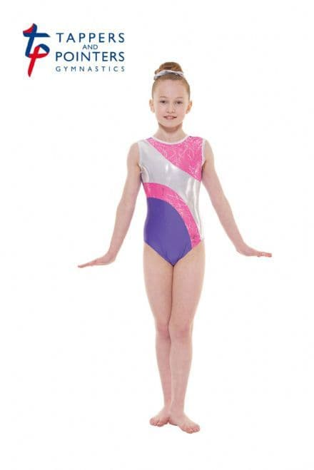 Tappers and Pointers Gym 37 Purple Lycra and Lipstick Scribble Sleeveless Gymnastic Leotard
