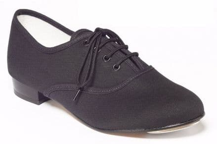 Tapper and Pointers Black Canvas Boys And Mens Oxford Tap Shoes