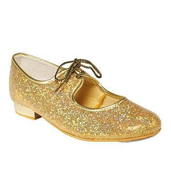 Tappers and Pointers Gold Hologram Glitter Low Heel Tap Shoes